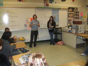 Laura Bomes and Barbara Barnes presenting at Menlo-Atherton high school