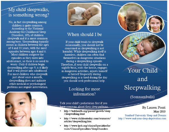 sleepwalking in children Brochure, page 1