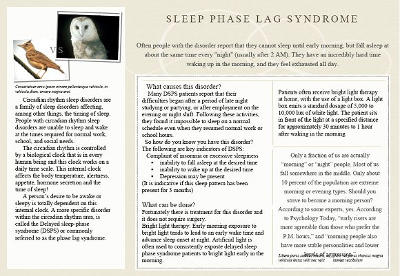 Delayed Sleep Phase Syndrome Brochure, page 2