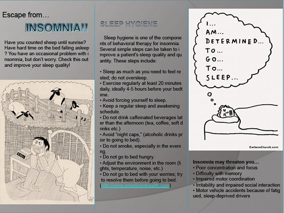 Escape from Insomnia Brochure, page 1