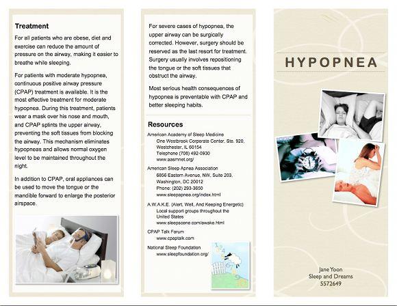 Hypopnia Brochure, page 1