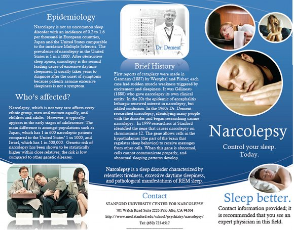 Narcolepsy Control Your Sleep Brochure, page 1