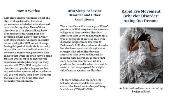 REM Behavioral Disorder Brochure, page 1