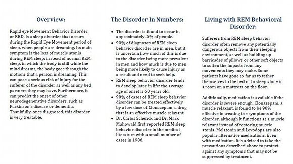 REM Behavioral Disorder Brochure, page 2