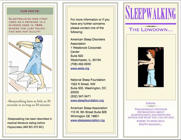 Sleepwalking Brochure, page 1