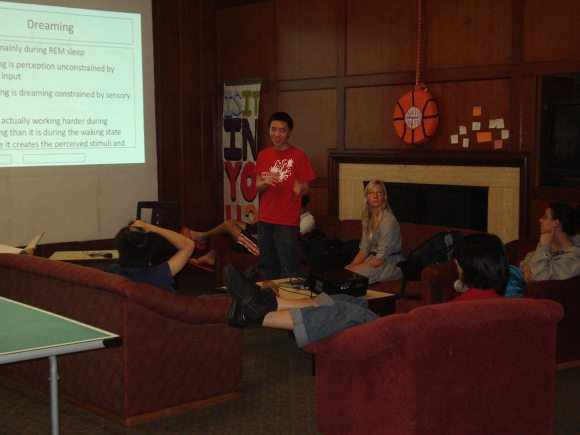 Jessica Guenther and Alexander Chen present at Stanford's Burbank house
