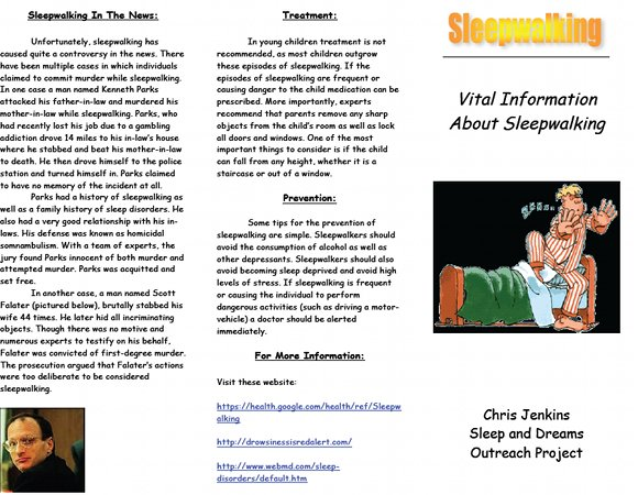 Vital information about sleepwalking Brochure, page 1