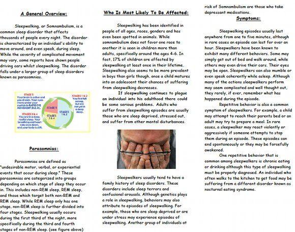 Vital information about sleepwalking Brochure, page 2