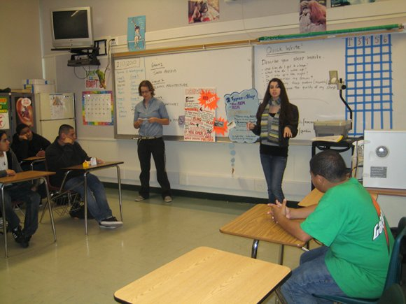 Barbara Barnes and Laura Bomes present at Menlo Atherton High School