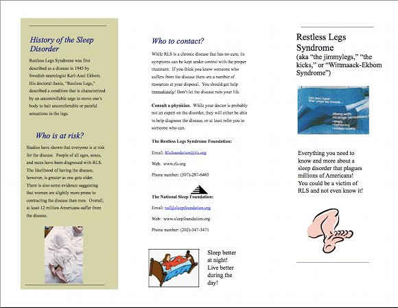 Restless Leg Syndrome Brochure, page 1