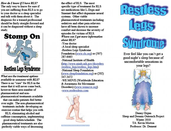 Restless Legs Syndrome Brochure, page 1