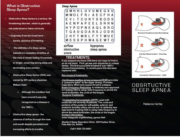 Obstructive Sleep Apnea Brochure, page 1